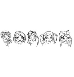 digital sketches five woman heads vector image