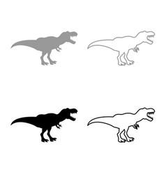 dinosaur tyrannosaurus t rex icon set grey black vector image