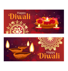 Diwali banners set vector