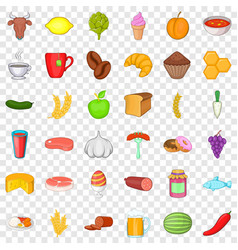 Donut icons set cartoon style vector