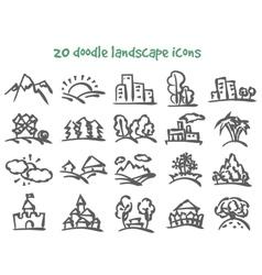 Doodle landscape icons vector