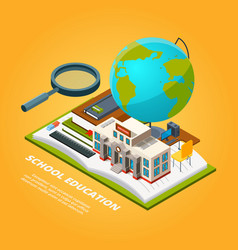 education isometric pictures composition with vector image