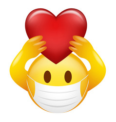 emoticon wearing medical mask holding heart symbol vector image