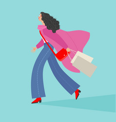 fashionable girl with purchases vector image