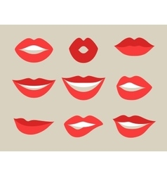 Female lips set mouths with red lipstick in vector