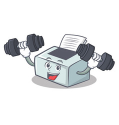 Fitness printer character cartoon style vector
