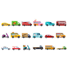 Flat set of service vehicles police car vector