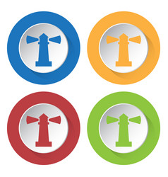 four round color icons lighthouse vector image