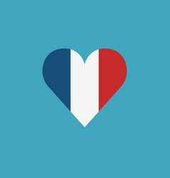 france flag icon in a heart shape in flat design vector image