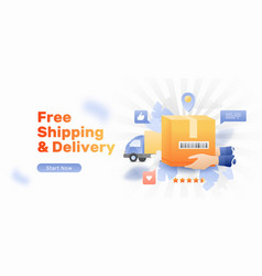 Free shipping website banner vector