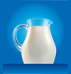 fresh milk in jug with splash on blue background vector image