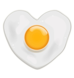fried egg heart shape vector image