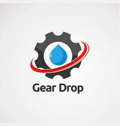 gear drop with red swoosh logo icon element and vector image