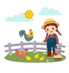 Girl farmer feeding her chickens vector