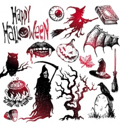 halloween and horror hand drawn set vector image