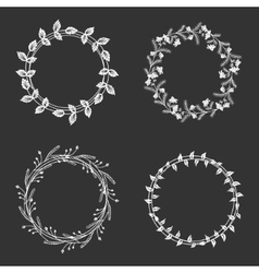 Hand drawn floral wreaths vector