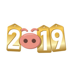 Happy new year background pink pig 3d gold sale vector