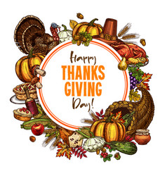 Happy thanksgiving day sketch poster vector