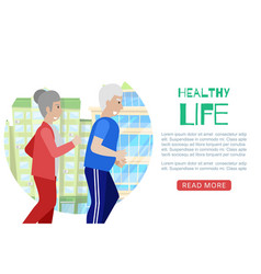 healthy life eldery couple web template vector image