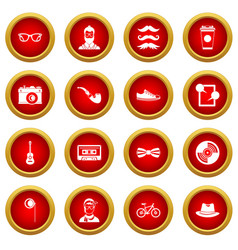 Hipster icon red circle set vector