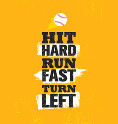 Hit hard run fast turn left baseball sport vector