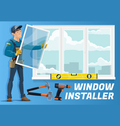Home window installation service installer worker vector