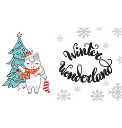 horizontal christmas card unicorn winter vector image