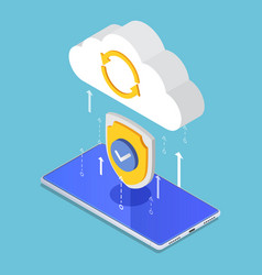 isometric cloud computing upload protecting by vector image