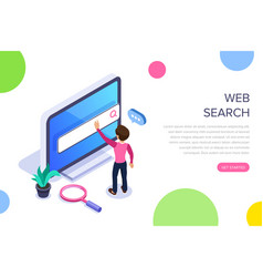 Isometric web search concept people uses the vector