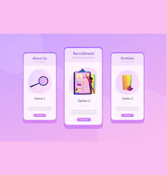 job interview app interface template vector image
