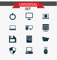 Laptop icons set collection of diskette hdd web vector