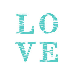 love composition of turquoise and striped letters vector image