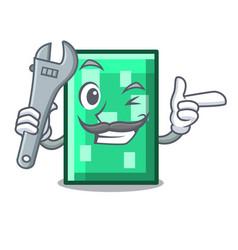 Mechanic rectangle mascot cartoon style vector