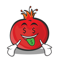 Money mouth pomegranate cartoon character style vector