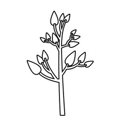 Monochrome silhouette of tree with leafs vector