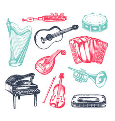 Musical instruments - hand drawn vector