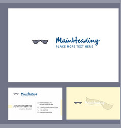 mustache logo design with tagline front and back vector image