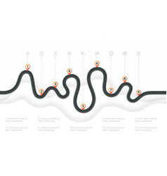 Navigation map infographic 9 steps timeline vector