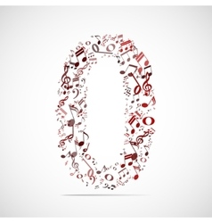 Number zero made from music notes vector