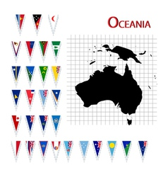 oceania flags and map vector image