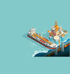 Offshore oil drill platform for petroleum pump vector