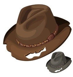 Old mens brown hat with holes isolated vector image
