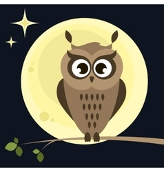 owl on tree at night vector image