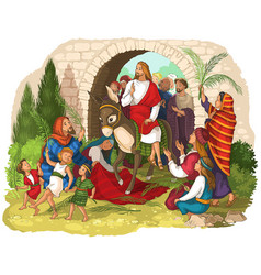 palm sunday jesus enters jerusalem vector image