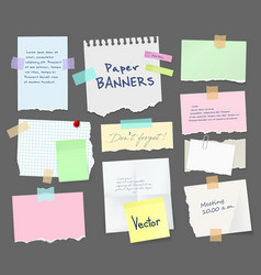 paper sheets notebook pages notes and messages vector image
