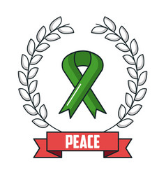 Peace poster with green ribbon and branch vector