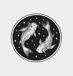 pisces zodiac icon astrology horoscope with sign vector image