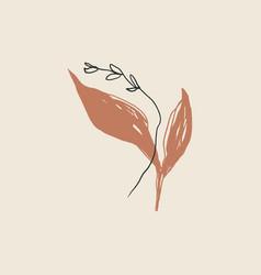 Plant leaf minimalistic line art print abstract vector