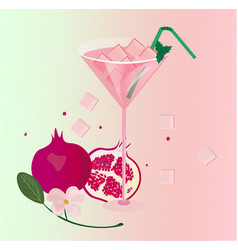 Pomegranate fresh cocktail glass summer drink vector