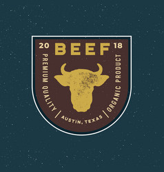 premium fresh beef label retro styled meat shop vector image